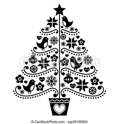 Diseño de árboles de Navidad, estilo popular - csp30190624