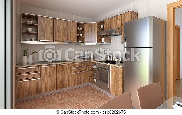 Diseño de cocina moderno - csp6202675