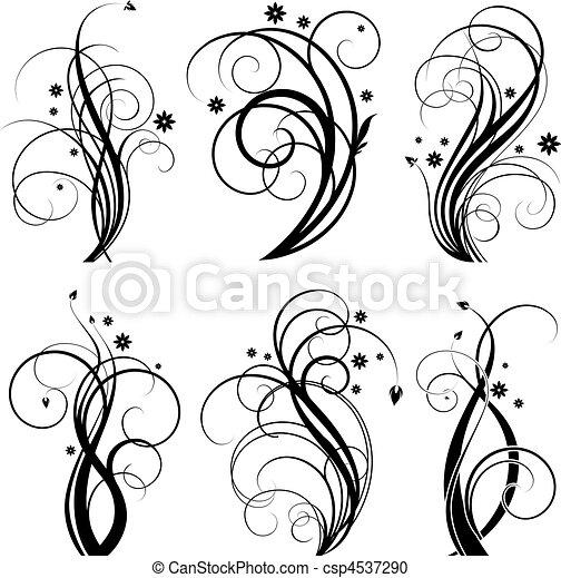 Diseño de remolinos negro - csp4537290