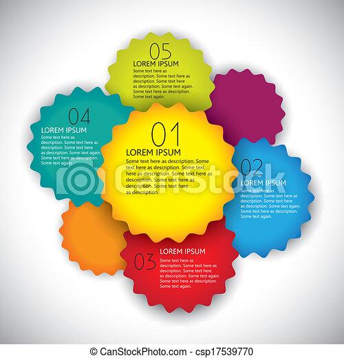 Diseño de vectores de colorido plantilla de diseño con números en secuencia. Esta simple plantilla gráfica abstracta incluye engranajes de colores brillantes o etiquetas con forma de rueda y espacio para texto - csp17539770