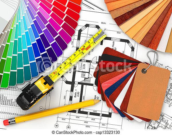 Diseño del interior. Materiales de arquitectura y planos - csp13323130
