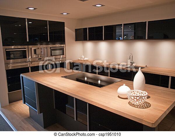 Diseño moderno de cocina de madera negra - csp1951010