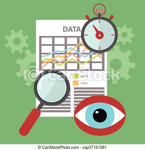 Diseño plano de los iconos vectores modernos de ilustración conjunto de búsqueda, sitio web SEO optimización, proceso de programación y elementos de análisis web. Aislado en un fondo de color estilizado - csp37161581