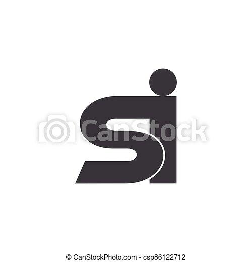 diseño, si, minúscula, vector, logotipo, carta - csp86122712