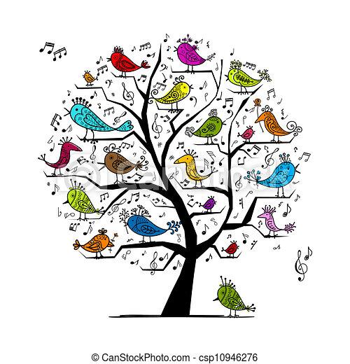 Árbol divertido con aves cantando para tu diseño - csp10946276