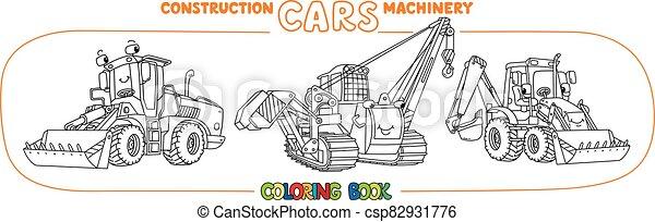 divertido, coches, libro colorear, set., constuction, pequeño - csp82931776