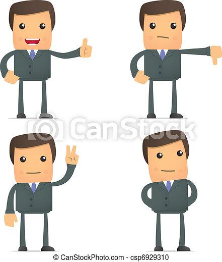 Divertido empresario de caricaturas sostiene el pulgar hacia arriba y abajo - csp6929310