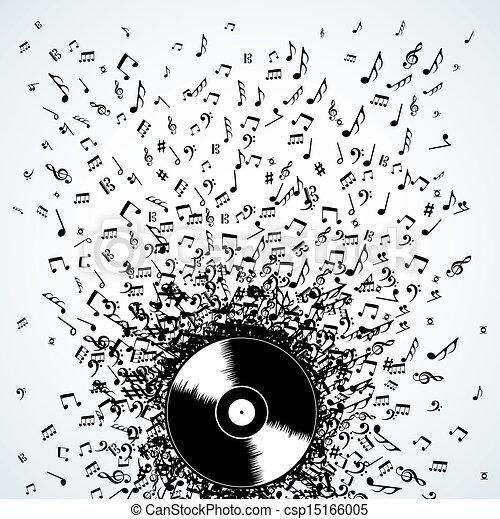 Las notas musicales de Dj salpican disco vinilo - csp15166005
