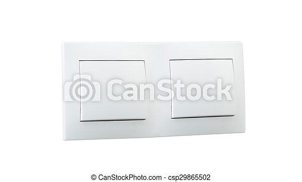 Un interruptor de luz doble blanco - csp29865502