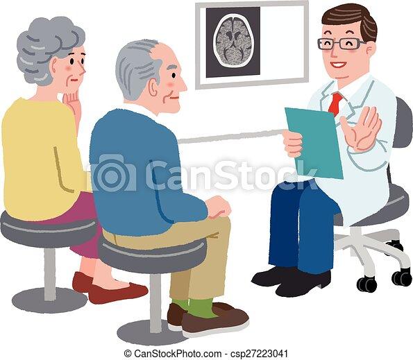Doctor hablando con su paciente y la familia - csp27223041