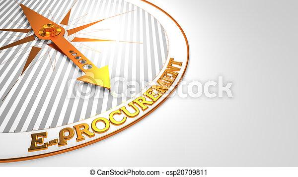 E-procuración en blanco con brújula dorada. - csp20709811