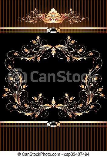 Ornamento dorado y corona de lujo - csp33407494