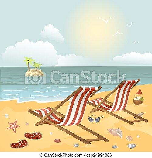Dos chaise longue en la playa - csp24994886