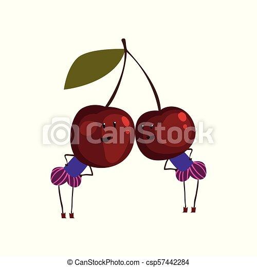 Dos graciosos personajes de caricatura de cerezas, divertidas bayas humanas vector de ilustración en un fondo blanco - csp57442284