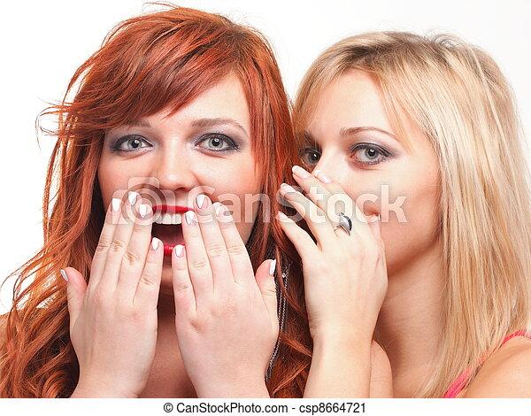 Dos jóvenes y felices novias rubias y Ginger hablando de fondo blanco, chismes de sociedad, rumores, rumores - csp8664721