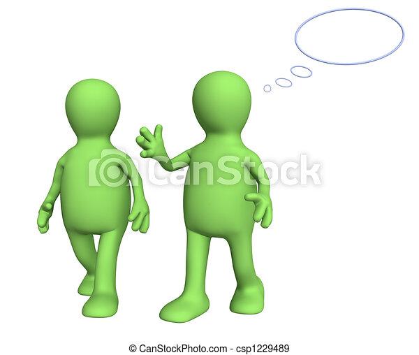Dos marionetas, hablando a pie - csp1229489