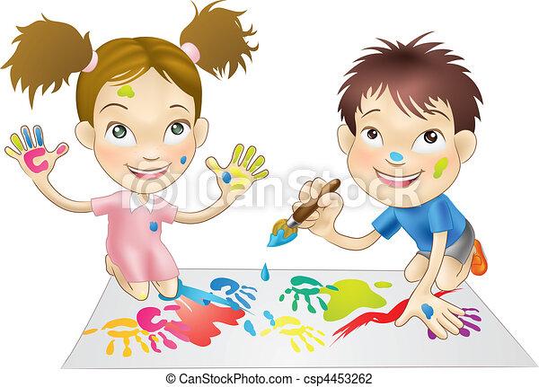 Dos niños jugando con pinturas - csp4453262