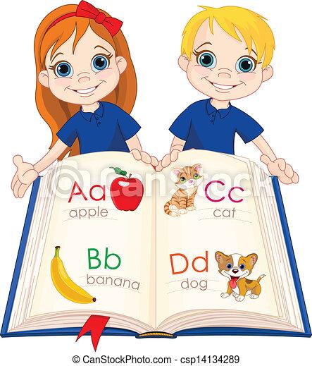 Dos niños y un libro de ABC - csp14134289