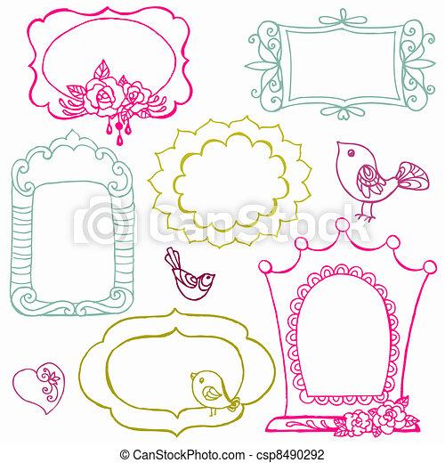 Dulces cuadros de garabatos con aves y elementos florales en vector - csp8490292