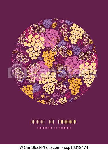 Dulces vides de uva en círculo de decoración de fondo - csp18019474