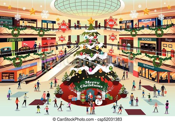 Comprar centro comercial durante la ilustración navideña - csp52031383