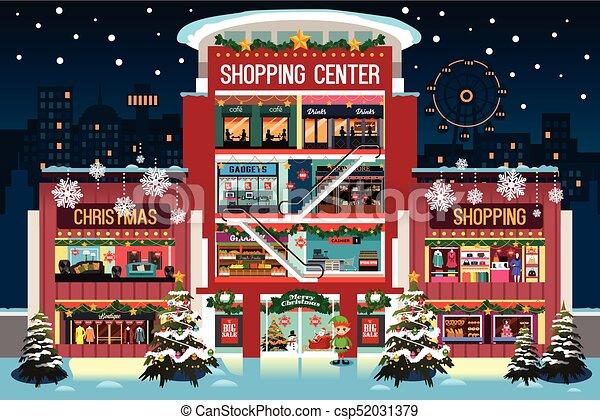 Comprar centro comercial durante la ilustración navideña - csp52031379