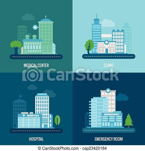 Edificio médico plano - csp23420184
