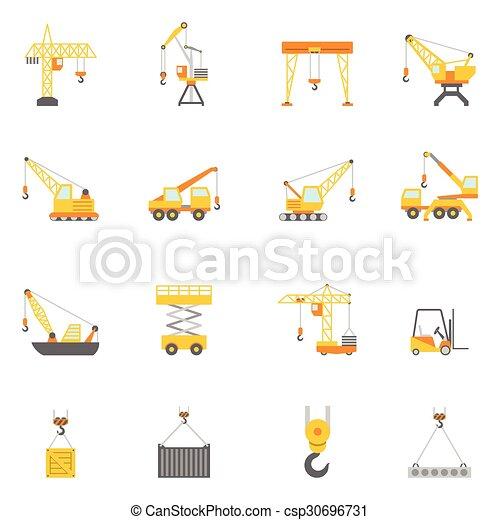 Construyendo iconos planos de la grúa - csp30696731