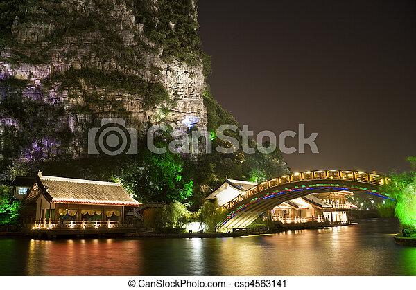 Edificios de lagos Mulong y puente, guilin, China - csp4563141