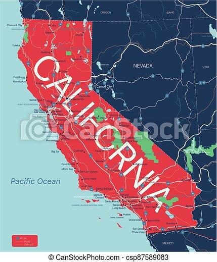 editable, estado de california, mapa, detallado - csp87589083