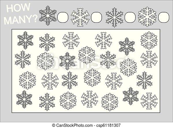 Educación para niños. Cuenta cuántos copos de nieve y páginas de color. Ilustración de vectores. - csp61181307