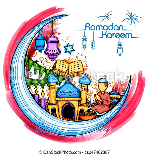 Eid Mubarak feliz eid trasfondo para el festival religioso islámico en el santo mes de Ramazan - csp47482367