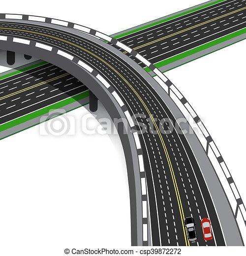 El auto cruza la autopista. Intercambio de carretera. Ilustración - csp39872272