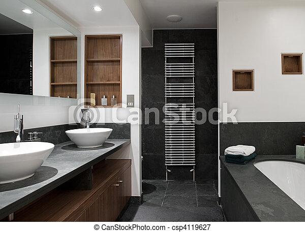 El baño de lujo con el suyo y el suyo se hunde - csp4119627