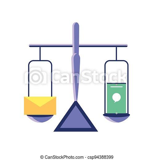 el balancear, smartphone, correo - csp94388399