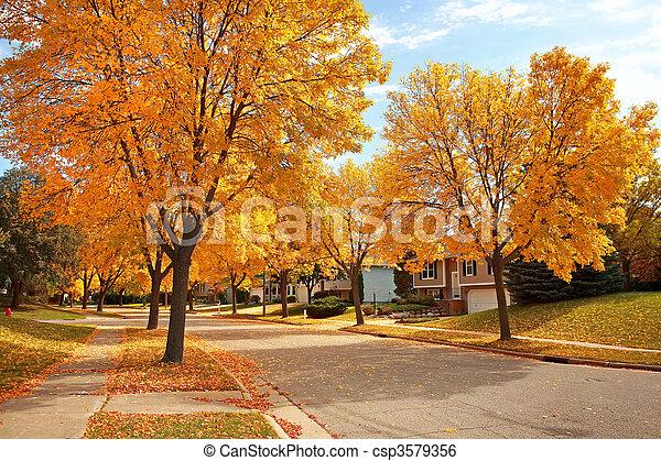 El barrio residencial en otoño - csp3579356