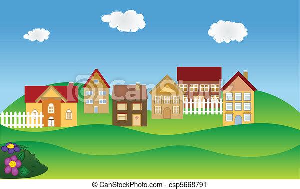 El barrio residencial en primavera - csp5668791