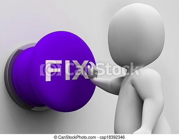 El botón de reparación muestra fallas y mantenimiento - csp18392346
