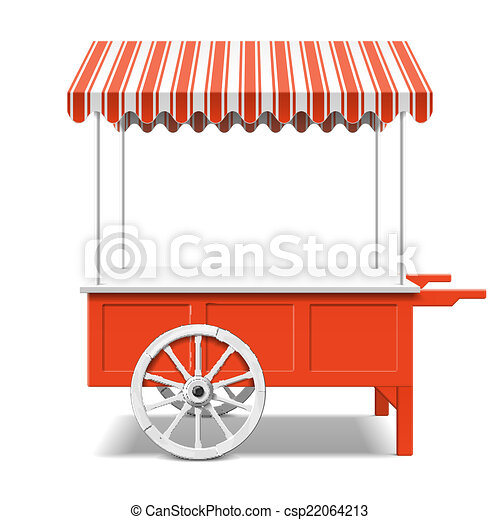 El carrito de mercado de los agricultores rojos - csp22064213