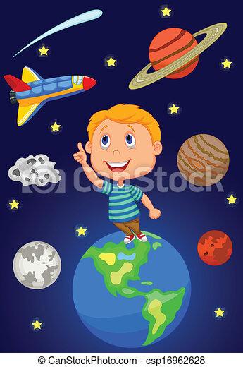 El chico de los cartones mirando al cielo - csp16962628