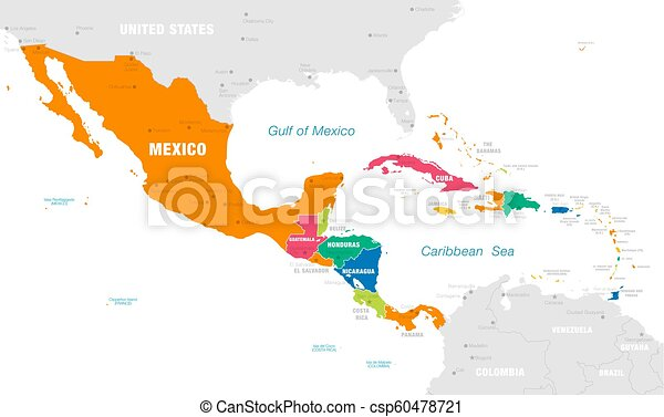 El colorido mapa vectorial de América Central - csp60478721