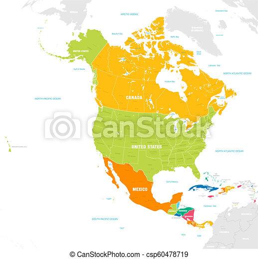El colorido mapa vectorial del norte y América Central - csp60478719
