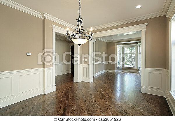 El comedor en la nueva casa de construcción - csp3051926