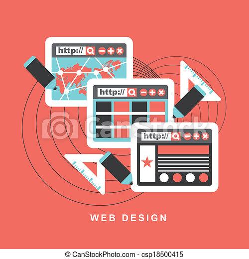 El concepto de diseño plano de la web - csp18500415