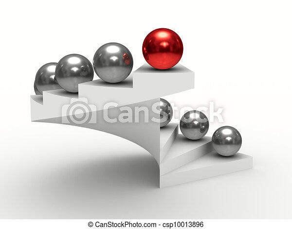 El concepto de liderazgo en el fondo blanco. Imagen 3D aislada - csp10013896