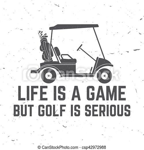 El concepto del club de golf con coche de golf. - csp42972988