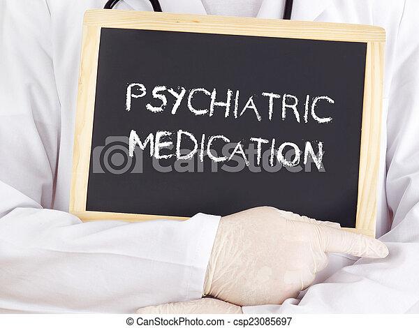 El doctor muestra información: medicación psiquiátrica - csp23085697