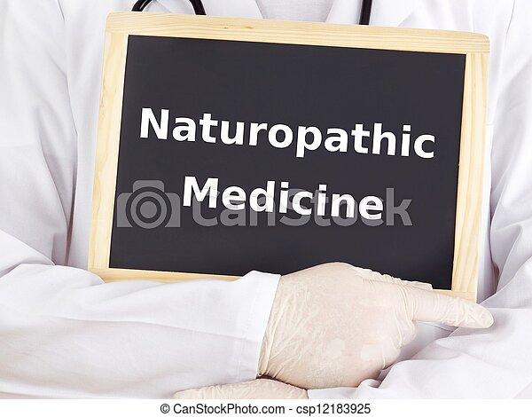 El doctor muestra información: medicina naturopática - csp12183925