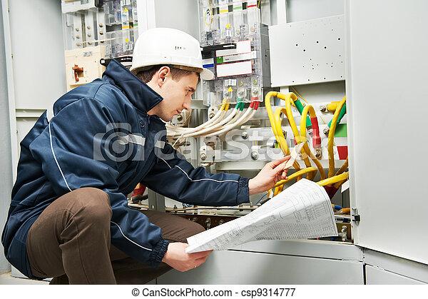 El electricista comprobando cables eléctricos - csp9314777