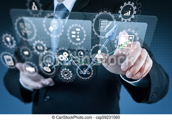 El empresario muestra tecnología moderna - csp59231560